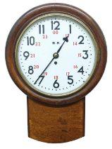 """British Railway (Western Region) oak 12"""" drop dial wall clock, the dial inscribed B.R. with twenty"""