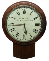 "South Western Railway mahoganysingle fusee 14"" wall dial clock signed J N O. Walker Ltd., New"