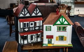 Two Vintage Dolls Houses with fitted fur