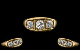 Superb 18ct Gold Three Stone Diamond Set Ring,