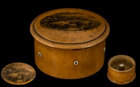 A Treen Collar Box, lift off lid with ce