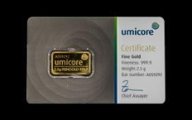 Umicore - Certificated Fine Gold Ingot,