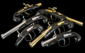 Six Vintage Pistol Grip Petrol Lighters