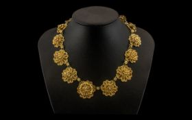 Vintage Gilt Metal Necklace with filigre
