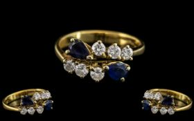 18ct Gold - Good Quality Sapphire and Di