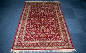 Red Cashmere Rug with all-over floral pa