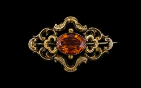 Victorian Period Large 9ct Gold Orange -