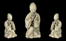 Chinese Blanc - De - Chine Figure of Person Playing the Flute, Antique Porcelain Figure, Very Fine