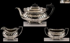 Edwardian Period 1902 - 1910 Superb Sterling Silver 3 Piece Tea-Service of Pleasing Design and