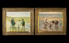 Pair of 20th Century Oil Paintings on Canvas Depicting Beach Scene with Children Sailing Boats In