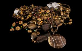 Collection of Boho/Vintage Wooden Jewellery, comprising five necklaces and one bracelet.