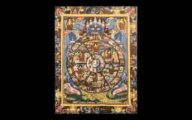 Oriental Painting on Cloth, depicting Buddhist symbols Tibetan Thangka with fine detailing picked