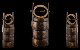 Chinese Bamboo Lidded Carry Pot. Antique Chinese Bamboo Carry Case with 3 Compartments, Spice