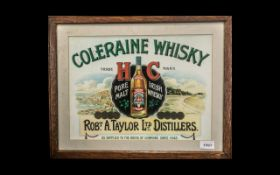 Coleraine Irish Whiskey Printed Paper Sign. H C Trade Mark.