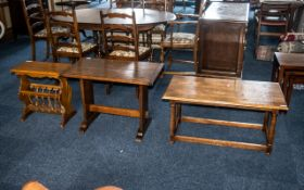 Three Small Oak Coffee Tables, one with a turned leg base and pedestal shaped ends, and one in the