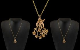 Antique Period- Attractive 9ct Rose Gold Floral Pendant with Attached 9ct Gold Chain.