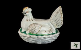 Staffordshire Antique Pottery Hen on Nest the base in a moulded weave nest design,