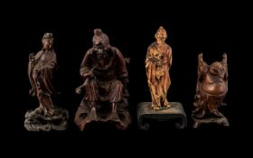 """Chinese Rootwood Carved Figures. Collection of antique carved deity figure groups, tallest 6""""."""