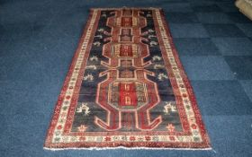 Deep Ground Large Iranian Runner. Full pile, Aztec design. Measures 305 x 120 cms. Please see
