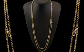 Victorian Period Fine Quality 9ct Gold Muff Chain of Excellent Fancy - Ornate Design. Stamped 9ct,