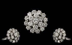 18ct White Gold - Superb Quality Diamond Set Bombe Style Cluster Ring - Claw Set In Gauge Back