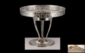 Edwardian Period Art Nouveau Sterling Silver Tazza / Compote, With Pierced Gallery Supported on a