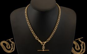 Antique Period Good Quality 9ct Gold Albert Chain with t-bar and double clasps. Every link marked