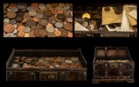 Large Collection of Coins in Trunk, to include Silver.