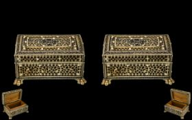 Anglo - Indian Fine Matched Pair of Intricately Carved Ivory Overlaid Hinged Lidded Trinket Boxes