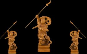 Chinese Wooden Carved Figure of a Warrior. Chinese finely carved figure of a warrior with spear in