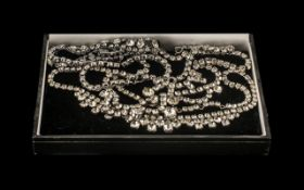 Vintage Diamonte Jewellery, comprising three necklaces and a bracelet. Please see images.