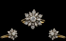 Art Deco Period 18ct Gold - Attractive Diamond Set Dress Ring. Marked 18ct. The Round Brilliant
