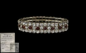A Triple Row Garnet And Crystal Bracelet - 34 4mm Round Faceted Crystals With 17 Hand Faceted