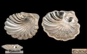 Edwardian Period Large Sterling Silver Sweetmeat Dish with Shell Design, Supported on a Trio of Ball