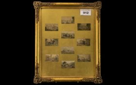 Baxter Prints of Small Size depicting various views of interest (10), housed in a gilt glazed frame.