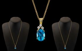 14ct Gold Attractive and Nice Quality Aquamarine and Diamond Set Pendant Drop,