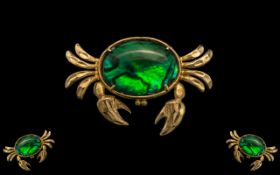 Attractive 9ct Gold Brooch - In the Form of a Large Crab Set with a Large Oval Shaped Stone to