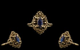 Ladies 9ct Gold - Attractive Single Stone Sapphire Set Dress Ring, With Excellent Open Worked