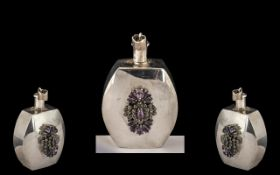 Silver Perfume Bottle. Silver perfume bottle decorated with amethysts, hallmarked for silver.