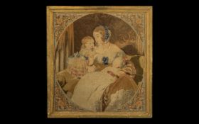 Early 19th Century Hand Woven Tapestry. Early to Mid 19th Century Tapestry, Good Subject of Mother