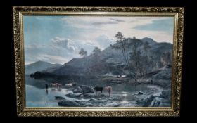 Large Print of Cattle Drinking at a Water's Edge with a mountainous background,