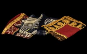 Liz Claiborne Vintage Silk Scarves, three in total, all with rolled edges, comprising: Book motif
