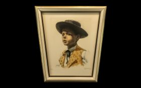 Coloured Limited Edition Print of a Spanish Boy wearing a hat, number 132/350, pencil signed M
