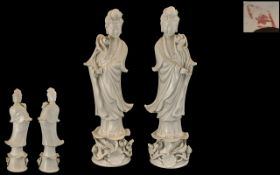Chinese - Porcelain Mid 20th Century True Pair of Blanc-de-chine Figures of Guanyin,