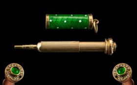 Victorian Period - Superb 9ct Gold Cased and Green Enamel Set Miniature Telescopic Propelling Pencil