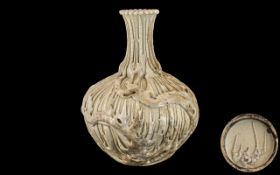 Chinese Antique Bulbous Shaped Vase of unusual form with a white crackled glaze and moulded to the