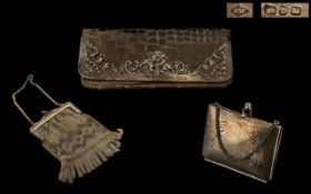 3 Antique Ladies Purses. Collection of Purses Comprises 1 Mesh, 1 Hard Case and One Snake Skin.