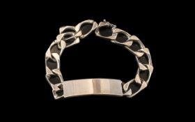 Silver ID Bracelet, chunky and stylish full hallmarked for silver. No inscription.