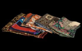 Collection of Vintage Liberty Silk Scarves, Nine (9) in Total, hand rolled silk, comprising: