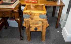 Small Sized Butcher's Block, refinished on a pine base with a drawer, the block metal mounted with